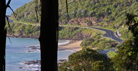 A rare shot of the Great Ocean Road with no caravans
