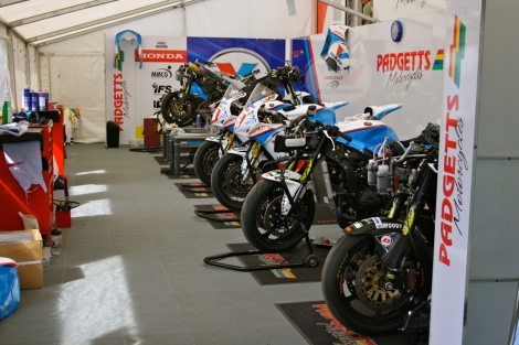 Supersport, superstock and superbike bikes all present and accounted for in the Padgett's tent