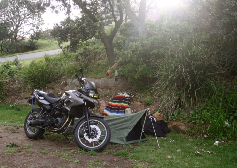 Motorcycle camping really teaches you the priorities of packing.